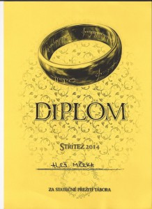 Diplom za odvahu na taboře  2014