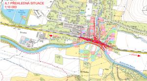 Silnice a křižovatka  v Zubří 2016