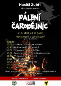 paleni čarodejnic v Zubří 2016 program