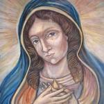 Plačící Panna Maria pod křížem u kostela v Zubří