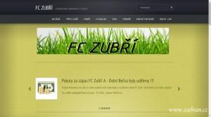Část úvodní stránky nového webu FC Zubří