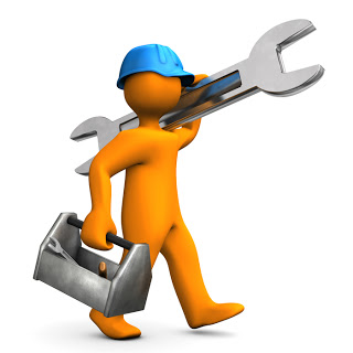 Orange cartoon character walks with big wrench on the white background.