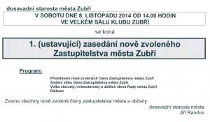 Pozvánka na 1. zastupitelstvo 2014