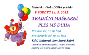 MŠ duha maškarní ples 2015 pozvánka