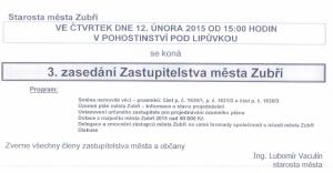 Pozvánka na 3. zasedání Zastupitelstva města Zubří