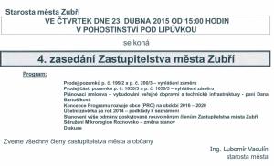 Pozvanka na 4. zastupitelstvo 2015